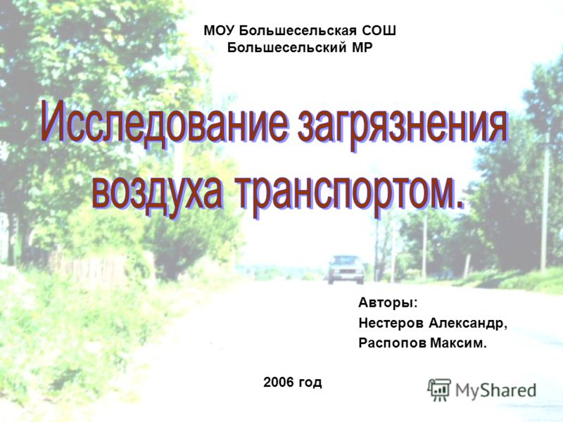 2006 год Авторы: Нестеров Александр, Распопов Максим. МОУ Большесельская СОШ Большесельский МР