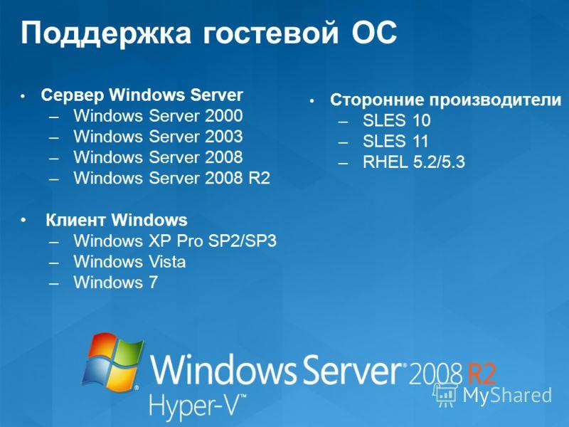 Поддержка гостевой ОС Сервер Windows Server – Windows Server 2000 – Windows Server 2003 – Windows Server 2008 – Windows Server 2008 R2 Клиент Windows – Windows XP Pro SP2/SP3 – Windows Vista – Windows 7 Сторонние производители – SLES 10 – SLES 11 – R