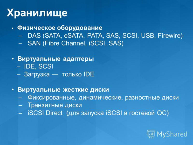 Хранилище Физическое оборудование – DAS (SATA, eSATA, PATA, SAS, SCSI, USB, Firewire) – SAN (Fibre Channel, iSCSI, SAS) Виртуальные адаптеры – IDE, SCSI – Загрузка только IDE Виртуальные жесткие диски – Фиксированные, динамические, разностные диски –