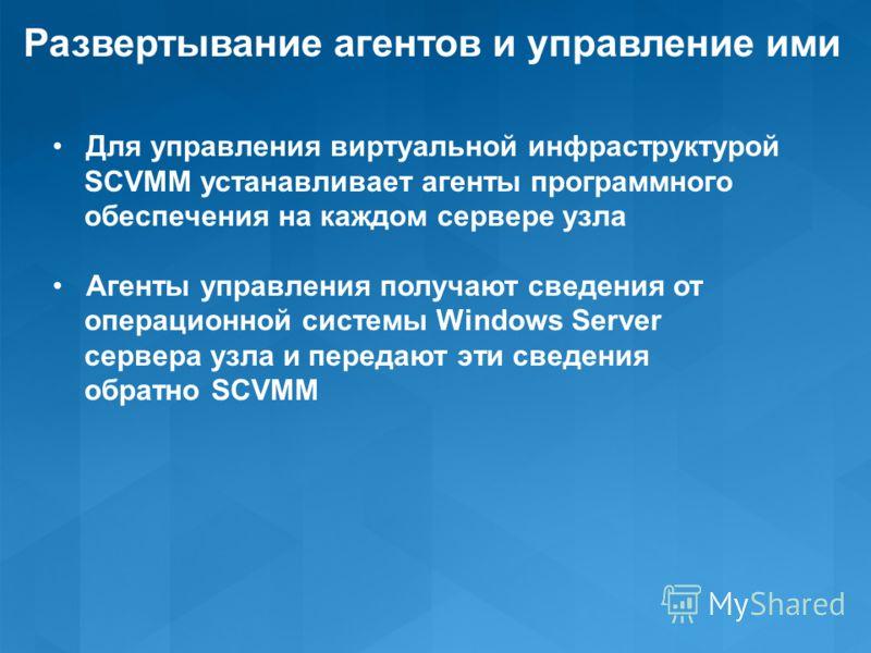 Развертывание агентов и управление ими Для управления виртуальной инфраструктурой SCVMM устанавливает агенты программного обеспечения на каждом сервере узла Агенты управления получают сведения от операционной системы Windows Server сервера узла и пер
