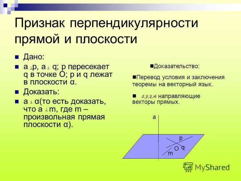 Признак перпендикулярности прямой и плоскости Дано: а р, а q; р пересекает q в точке О; р и q лежат в плоскости α. Доказать: а α(то есть доказать, что а m, где m – произвольная прямая плоскости α). Доказательство: Перевод условия и заключения теоремы