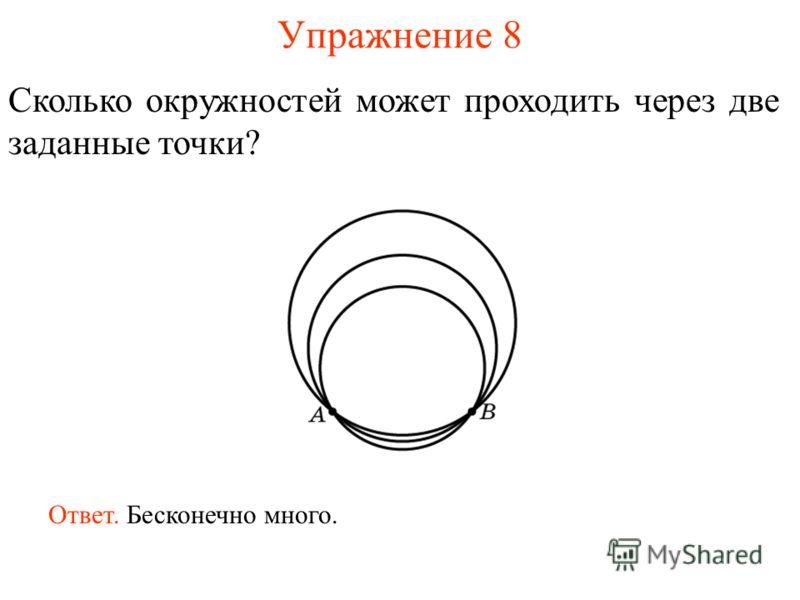 Упражнение 8 Сколько окружностей может проходить через две заданные точки? Ответ. Бесконечно много.