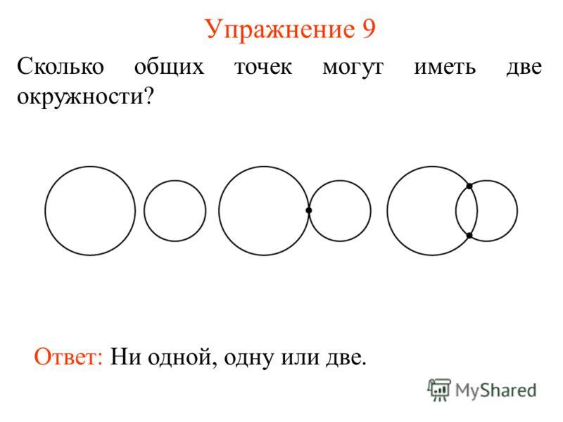 Упражнение 9 Сколько общих точек могут иметь две окружности? Ответ: Ни одной, одну или две.