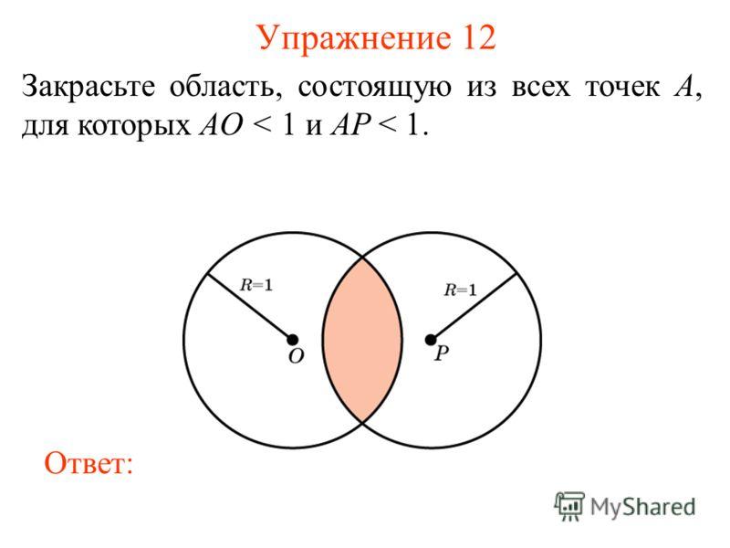 Упражнение 12 Закрасьте область, состоящую из всех точек A, для которых AO < 1 и AP < 1. Ответ: