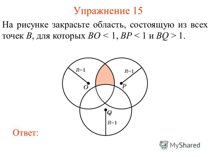 Упражнение 15 На рисунке закрасьте область, состоящую из всех точек B, для которых BO 1. Ответ: