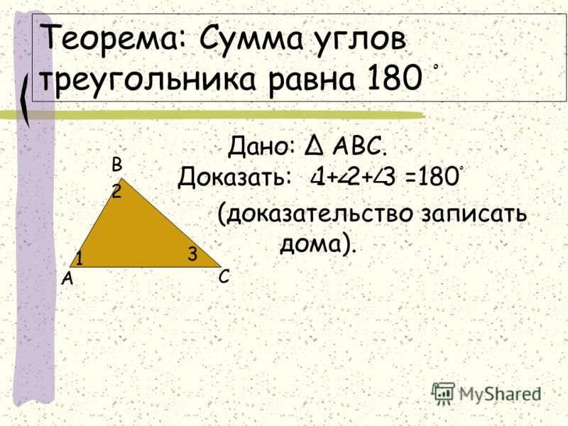 Теорема: Сумма углов треугольника равна 180 ْ Дано: АВС. Доказать: 1+ 2+ 3 =180 ْ (доказательство записать дома). А В С 1 2 3