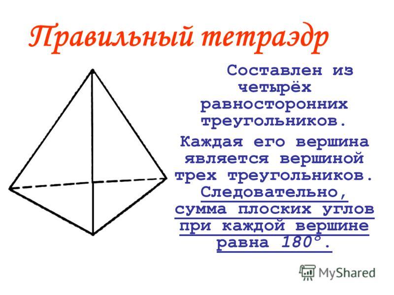 Правильный тетраэдр Составлен из четырёх равносторонних треугольников. Каждая его вершина является вершиной трех треугольников. Следовательно, сумма плоских углов при каждой вершине равна 180º.