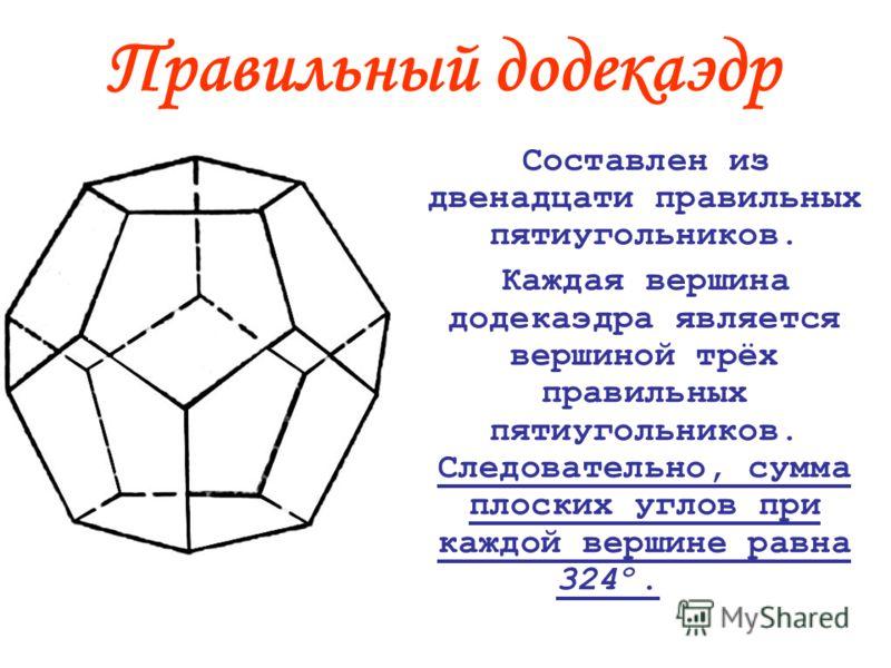 Правильный додекаэдр Составлен из двенадцати правильных пятиугольников. Каждая вершина додекаэдра является вершиной трёх правильных пятиугольников. Следовательно, сумма плоских углов при каждой вершине равна 324º.