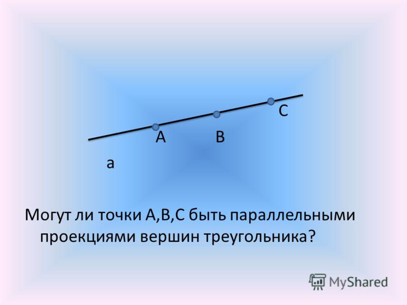 С А В а Могут ли точки А,В,С быть параллельными проекциями вершин треугольника?