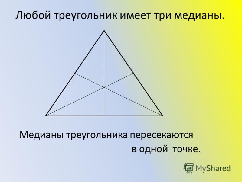 Любой треугольник имеет три медианы. Медианы треугольника пересекаются в одной точке.