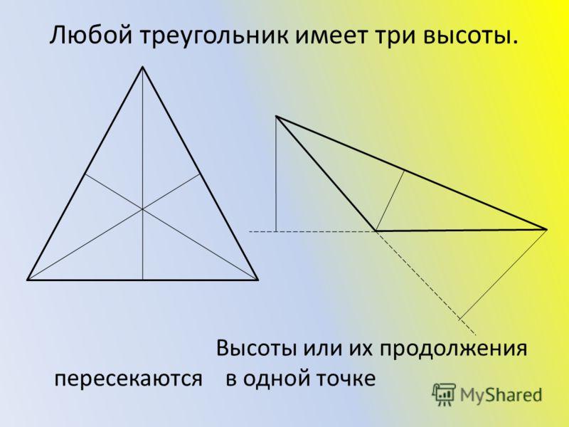 Любой треугольник имеет три высоты. Высоты или их продолжения пересекаются в одной точке