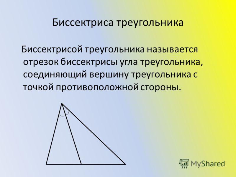 Биссектриса треугольника Биссектрисой треугольника называется отрезок биссектрисы угла треугольника, соединяющий вершину треугольника с точкой противоположной стороны.