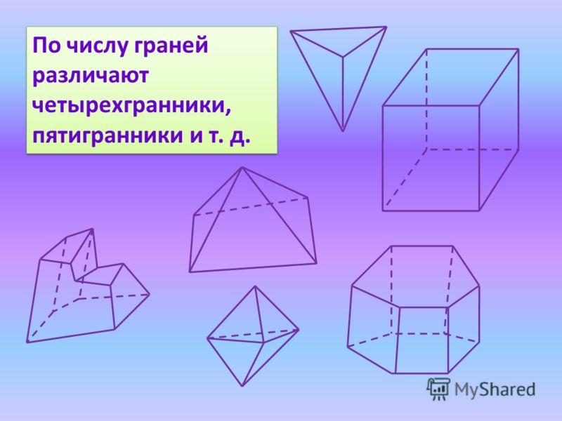 По числу граней различают четырехгранники, пятигранники и т. д. По числу граней различают четырехгранники, пятигранники и т. д.