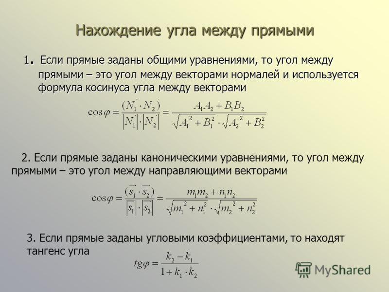 Нахождение угла между прямыми 1. Если прямые заданы общими уравнениями, то угол между прямыми – это угол между векторами нормалей и используется формула косинуса угла между векторами 2. Если прямые заданы каноническими уравнениями, то угол между прям