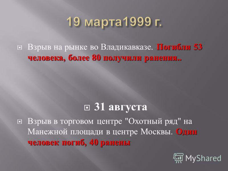 Погибли 53 человека, более 80 получили ранения.. Взрыв на рынке во Владикавказе. Погибли 53 человека, более 80 получили ранения.. 31 августа Один человек погиб, 40 ранены Взрыв в торговом центре