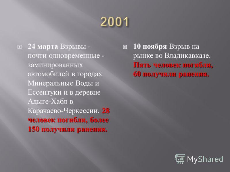 28 человек погибли, более 150 получили ранения. 24 марта Взрывы - почти одновременные - заминированных автомобилей в городах Минеральные Воды и Ессентуки и в деревне Адыге - Хабл в Карачаево - Черкессии. 28 человек погибли, более 150 получили ранения
