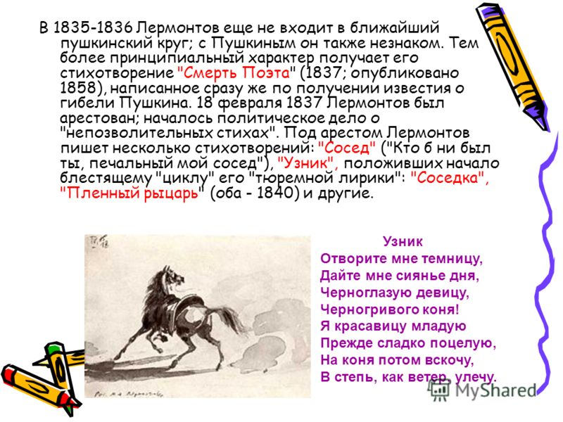 В 1835-1836 Лермонтов еще не входит в ближайший пушкинский круг; с Пушкиным он также незнаком. Тем более принципиальный характер получает его стихотворение