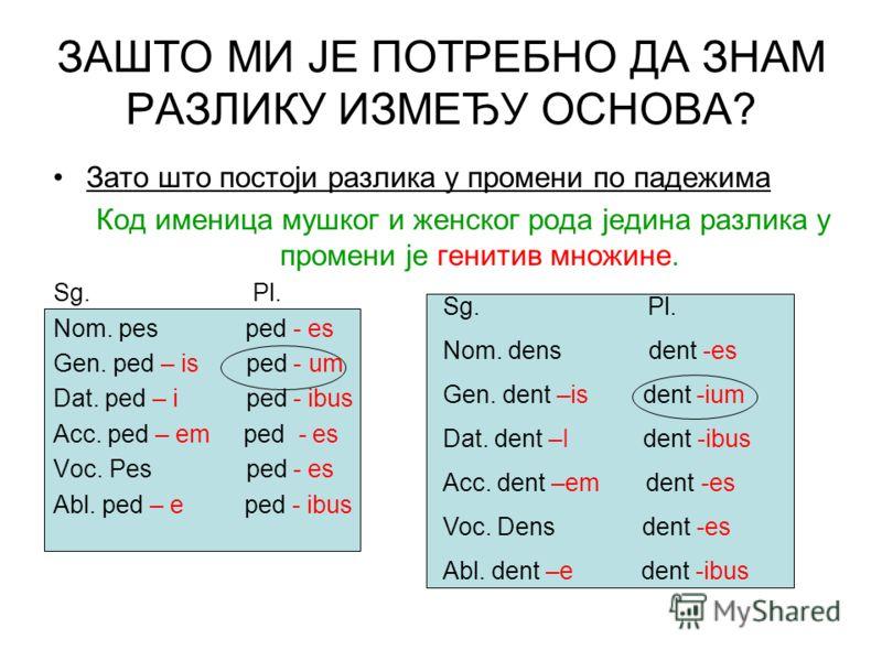 Зато што постоји разлика у промени по падежима Код именица мушког и женског рода једина разлика у промени је генитив множине. Sg. Pl. Nom. pes ped - es Gen. ped – is ped - um Dat. ped – i ped - ibus Acc. ped – em ped - es Voc. Pes ped - es Abl. ped –