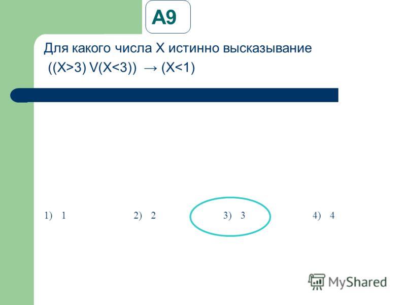 А9 Для какого числа X истинно высказывание ((X>3) V(X