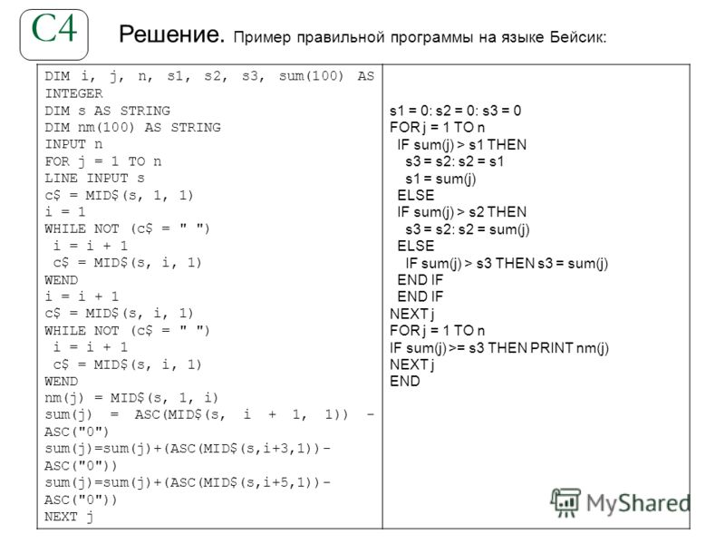 Решение. Пример правильной программы на языке Бейсик: С4 DIM i, j, n, s1, s2, s3, sum(100) AS INTEGER DIM s AS STRING DIM nm(100) AS STRING INPUT n FOR j = 1 TO n LINE INPUT s c$ = MID$(s, 1, 1) i = 1 WHILE NOT (c$ =