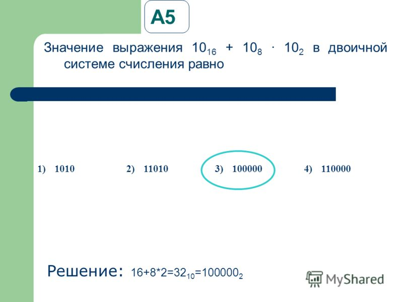 А5А5 Значение выражения 10 16 + 10 8 · 10 2 в двоичной системе счисления равно Решение: 1 6+8*2=32 10 =100000 2 1)10102)110103)1000004)110000