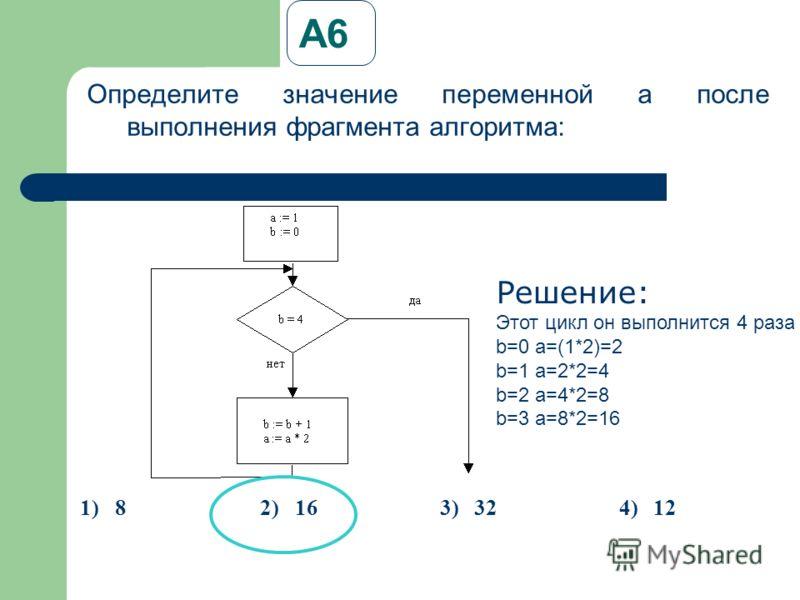 А6А6 Определите значение переменной a после выполнения фрагмента алгоритма: Решение: Этот цикл он выполнится 4 раза b=0 a=(1*2)=2 b=1 a=2*2=4 b=2 a=4*2=8 b=3 a=8*2=16 1)82)163)324)12