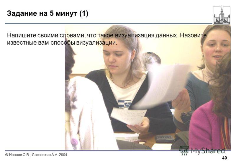 49 Иванов О.В., Соколихин А.А. 2004 Задание на 5 минут (1) Напишите своими словами, что такое визуализация данных. Назовите известные вам способы визуализации.