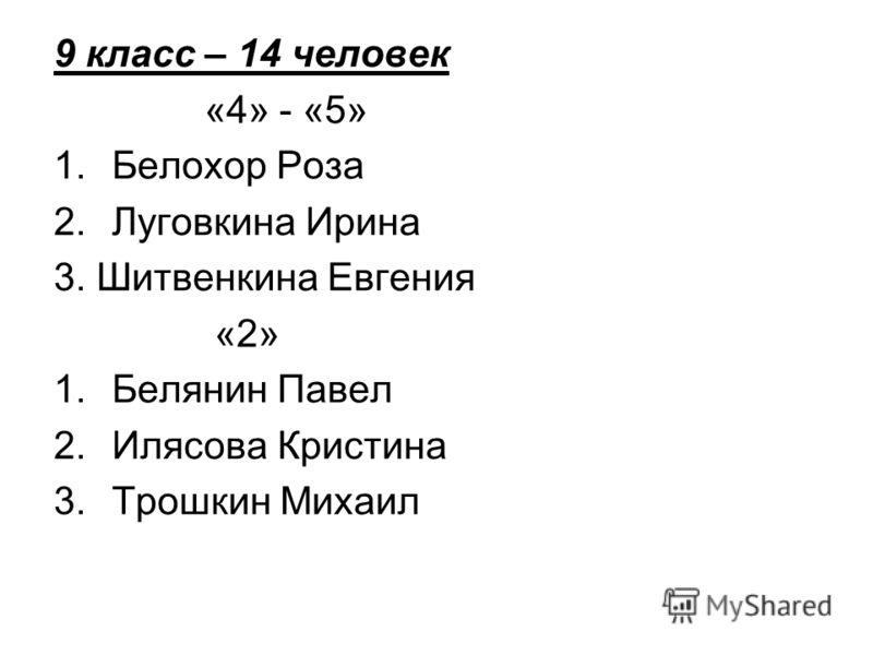 9 класс – 14 человек «4» - «5» 1.Белохор Роза 2.Луговкина Ирина 3. Шитвенкина Евгения «2» 1.Белянин Павел 2.Илясова Кристина 3.Трошкин Михаил