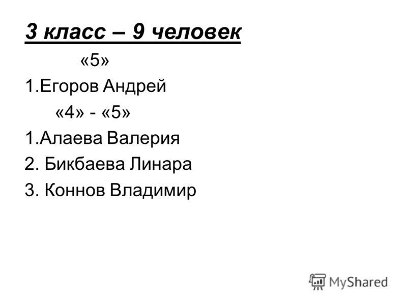 3 класс – 9 человек «5» 1.Егоров Андрей «4» - «5» 1.Алаева Валерия 2. Бикбаева Линара 3. Коннов Владимир