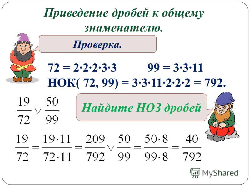Приведение дробей к общему знаменателю. Найдите НОК чисел 72 и 99. Проверка. 72 = 2·2·2·3·3 99 = 3·3·11 НОК( 72, 99) = 3·3·11·2·2·2 = 792. Найдите НОЗ дробей