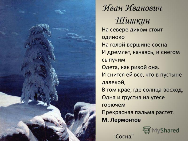 Иван Иванович Шишкин На севере диком стоит одиноко На голой вершине сосна И дремлет, качаясь, и снегом сыпучим Одета, как ризой она. И снится ей все, что в пустыне далекой, В том крае, где солнца восход, Одна и грустна на утесе горючем Прекрасная пал