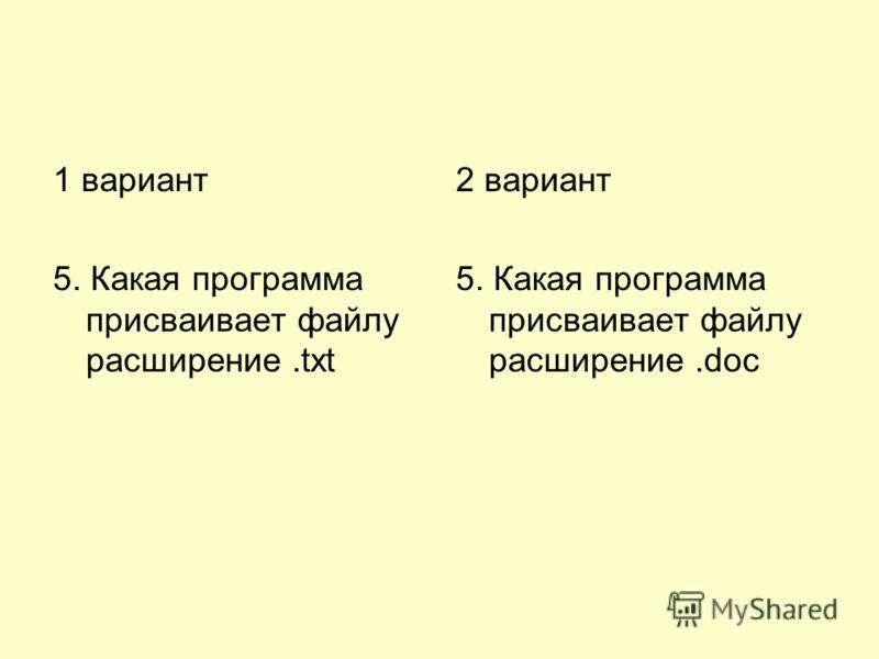 1 вариант 5. Какая программа присваивает файлу расширение.txt 2 вариант 5. Какая программа присваивает файлу расширение.doc