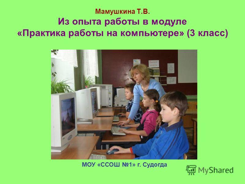 Мамушкина Т.В. Из опыта работы в модуле «Практика работы на компьютере» (3 класс) МОУ «ССОШ 1» г. Судогда