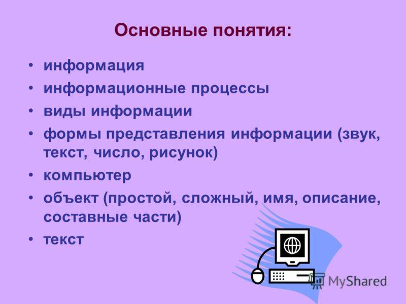 Основные понятия: информация информационные процессы виды информации формы представления информации (звук, текст, число, рисунок) компьютер объект (простой, сложный, имя, описание, составные части) текст