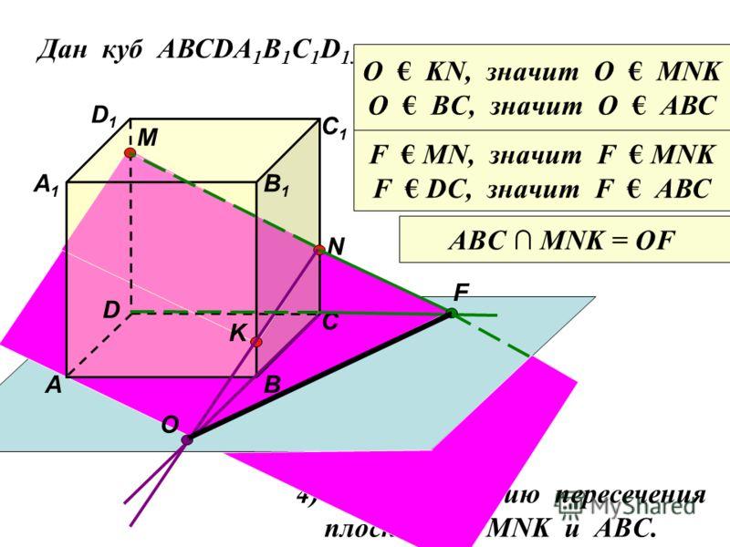 Дан куб АВСDA 1 B 1 C 1 D 1. D1D1 D С1С1 С В1В1 В А1А1 А M Точка М лежит на ребре DD 1 N Точка N лежит на ребре CC 1 K Точка K лежит на ребре BB 1 O F 4) Найдите линию пересечения плоскостей MNK и ABC. ABC MNK = OF O KN, значит О МNK O ВC, значит О А