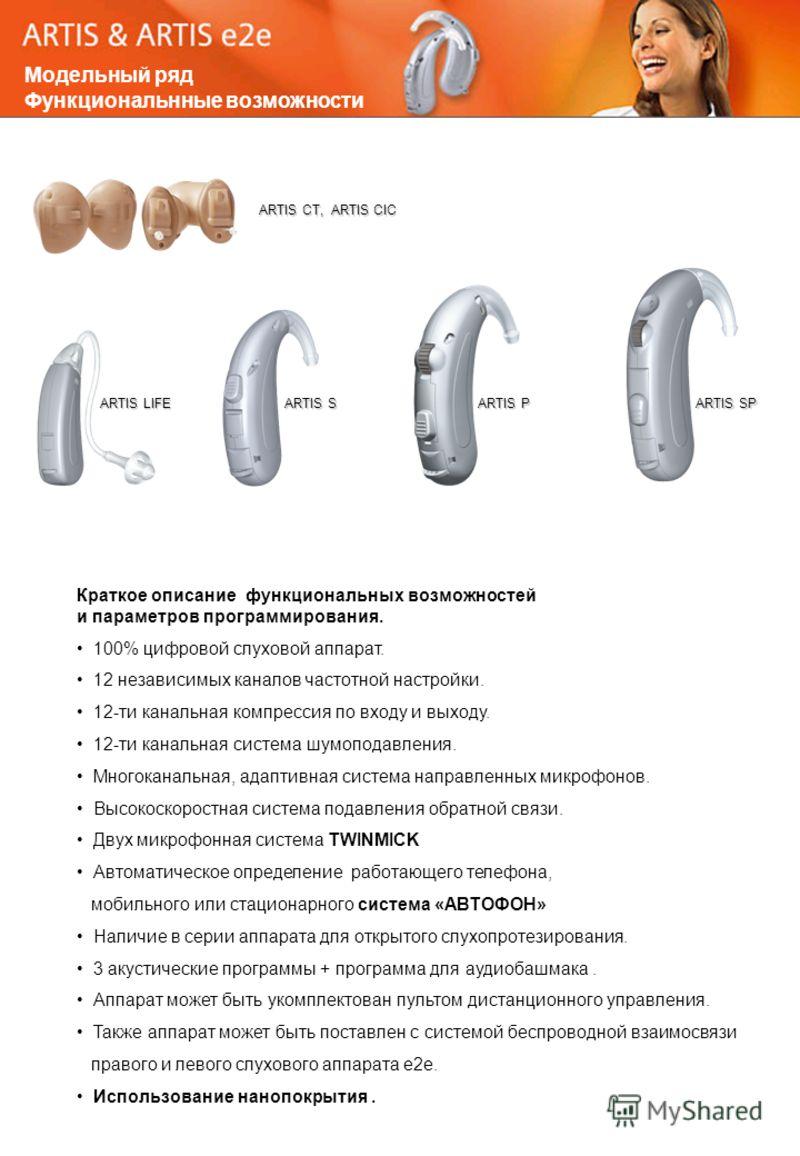 Краткое описание функциональных возможностей и параметров программирования. 100% цифровой слуховой аппарат. 12 независимых каналов частотной настройки. 12-ти канальная компрессия по входу и выходу. 12-ти канальная система шумоподавления. Многоканальн