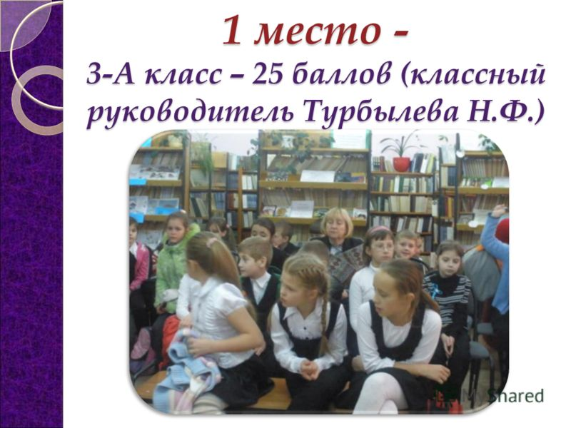 1 место - 3-А класс – 25 баллов (классный руководитель Турбылева Н.Ф.)