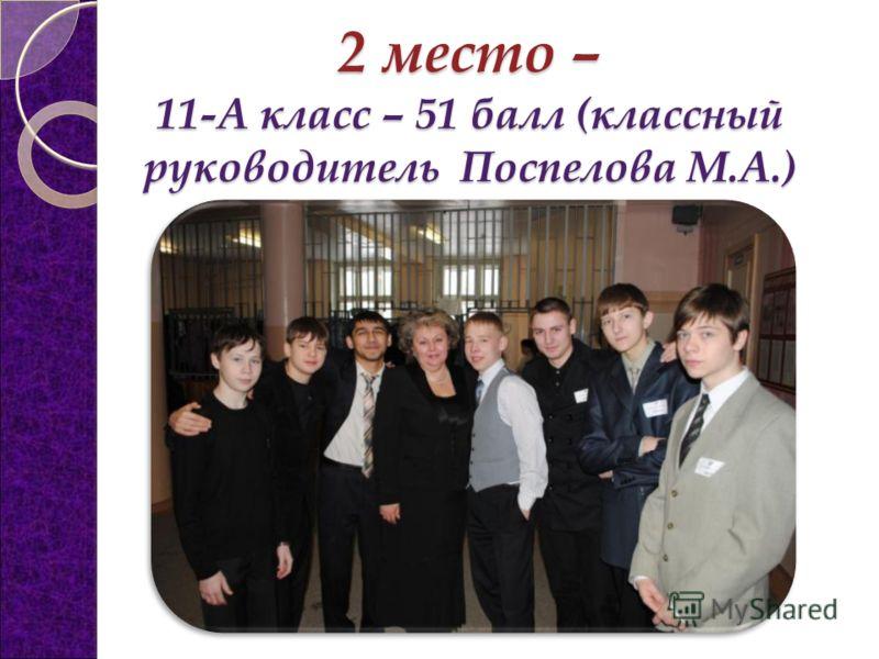 2 место – 11-А класс – 51 балл (классный руководитель Поспелова М.А.)