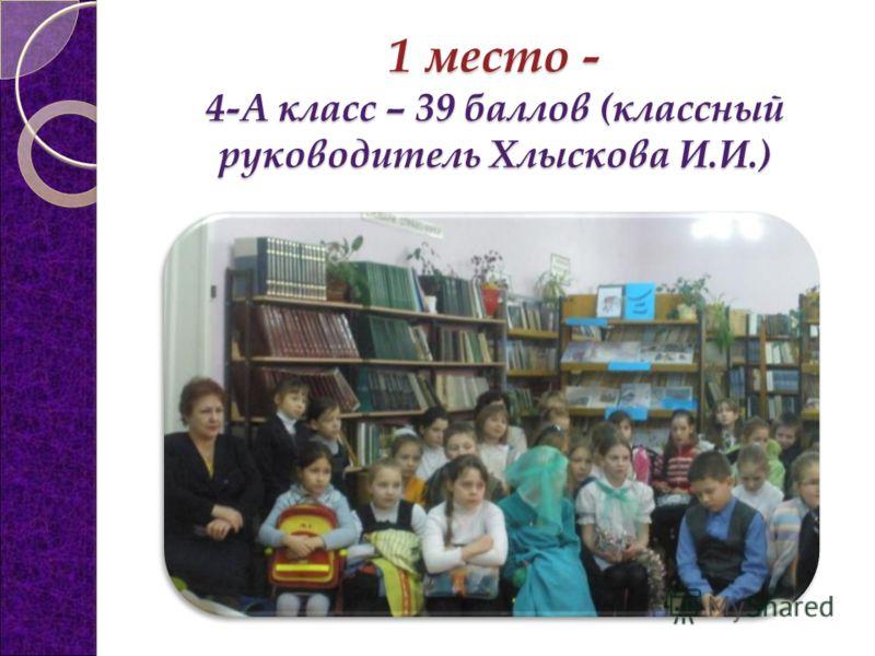 1 место - 4-А класс – 39 баллов (классный руководитель Хлыскова И.И.)