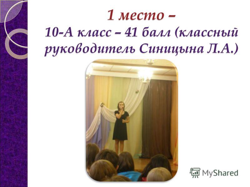 1 место – 10-А класс – 41 балл (классный руководитель Синицына Л.А.)