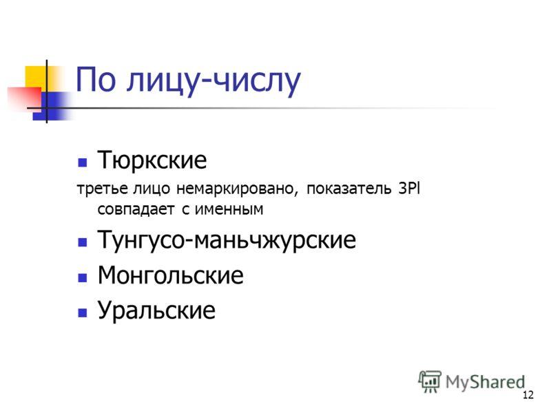 12 По лицу-числу Тюркские третье лицо немаркировано, показатель 3Pl совпадает с именным Тунгусо-маньчжурские Монгольские Уральские