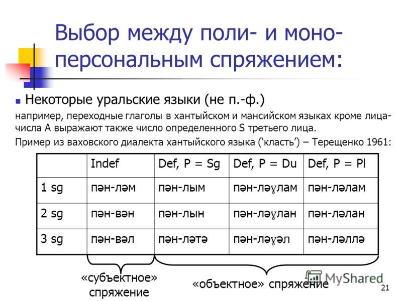 21 Выбор между поли- и моно- персональным спряжением: Некоторые уральские языки (не п.-ф.) например, переходные глаголы в хантыйском и мансийском языках кроме лица- числа A выражают также число определенного S третьего лица. Пример из ваховского диал
