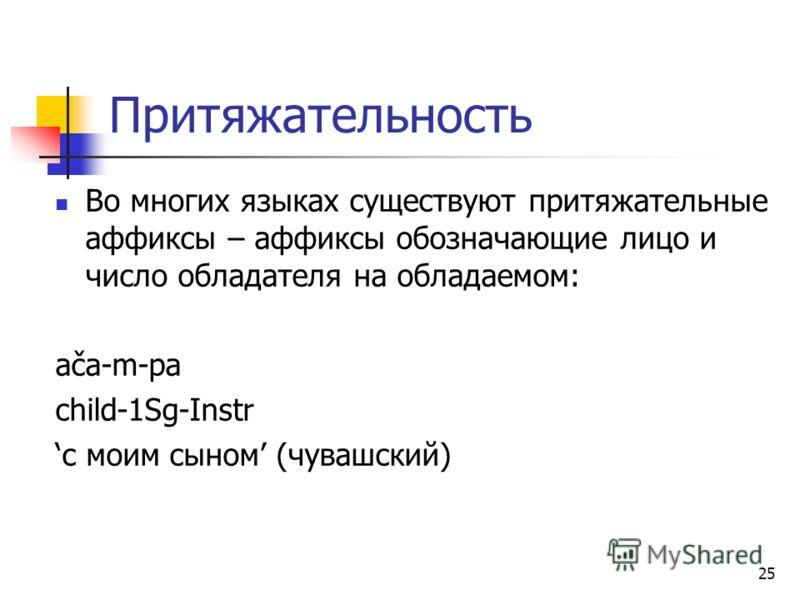 25 Притяжательность Во многих языках существуют притяжательные аффиксы – аффиксы обозначающие лицо и число обладателя на обладаемом: ača-m-pa child-1Sg-Instr с моим сыном (чувашский)