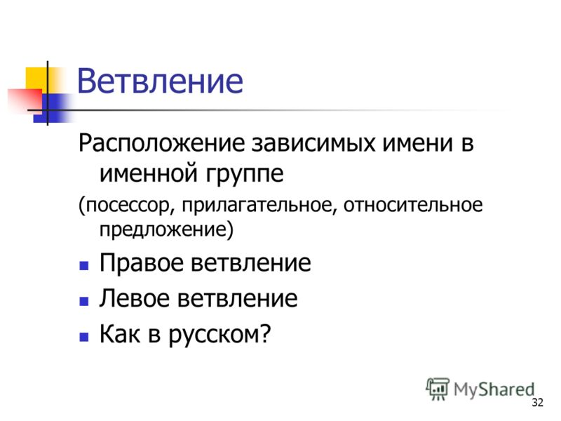 32 Ветвление Расположение зависимых имени в именной группе (посессор, прилагательное, относительное предложение) Правое ветвление Левое ветвление Как в русском?