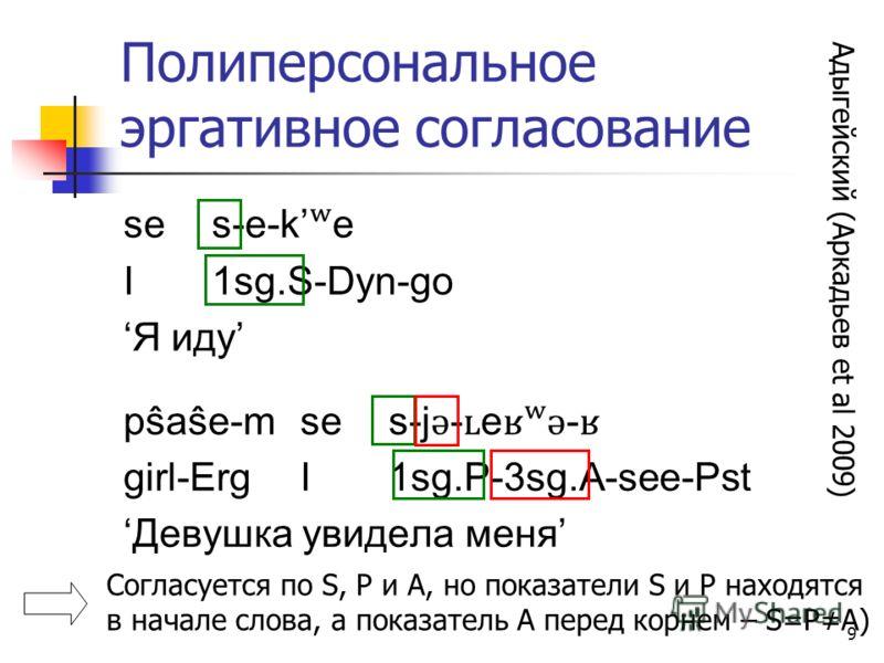 9 Полиперсональное эргативное согласование ses-e-k ʷ e I1sg.S-Dyn-go Я иду pŝaŝe-mses-j ǝ - ʟ e ʁʷǝ - ʁ girl-ErgI1sg.P-3sg.A-see-Pst Девушка увидела меня Согласуется по S, P и A, но показатели S и P находятся в начале слова, а показатель A перед корн