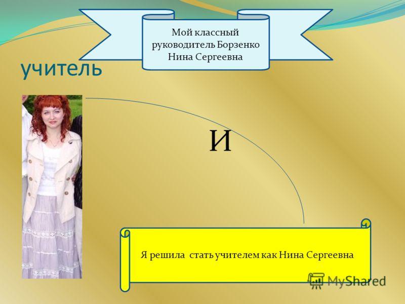 учитель Я решила стать учителем как Нина Сергеевна Мой классный руководитель Борзенко Нина Сергеевна И