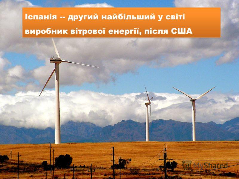 Іспанія -- другий найбільший у світі виробник вітрової енергії, після США