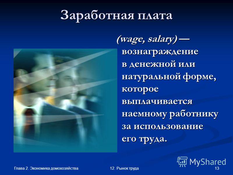 Глава 2. Экономика домохозяйства 1312. Рынок труда Заработная плата (wage, salary) вознаграждение в денежной или натуральной форме, которое выплачивается наемному работнику за использование его труда. (wage, salary) вознаграждение в денежной или нату