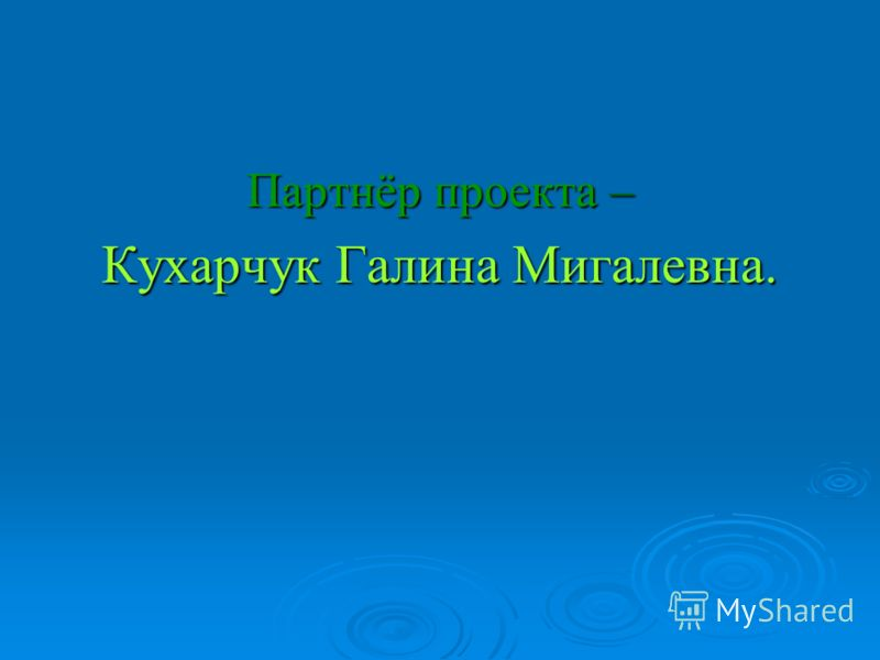 Партнёр проекта – Кухарчук Галина Мигалевна.