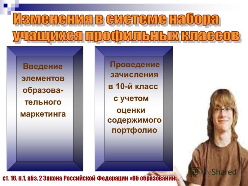 Введение элементов образова- тельного маркетинга Проведение зачисления в 10-й класс с учетом оценки содержимого портфолио ст. 16, п.1, абз. 2 Закона Российской Федерации «Об образовании».